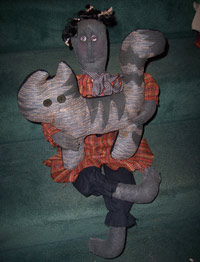 Miss Hattie Doll-doll, primitive, cat, orange, black, gray, decor, button eyes, plaid
