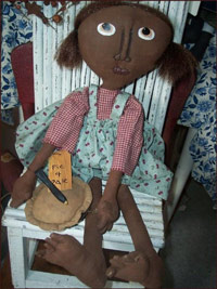 Primitive Sadie Doll-doll, primitive, cherry, check, decor